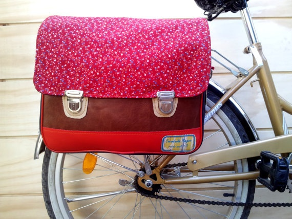 Like this color.  FREE SHIPPING Bicycle Bag small flowers on red by CocodriloBazar, $82.00