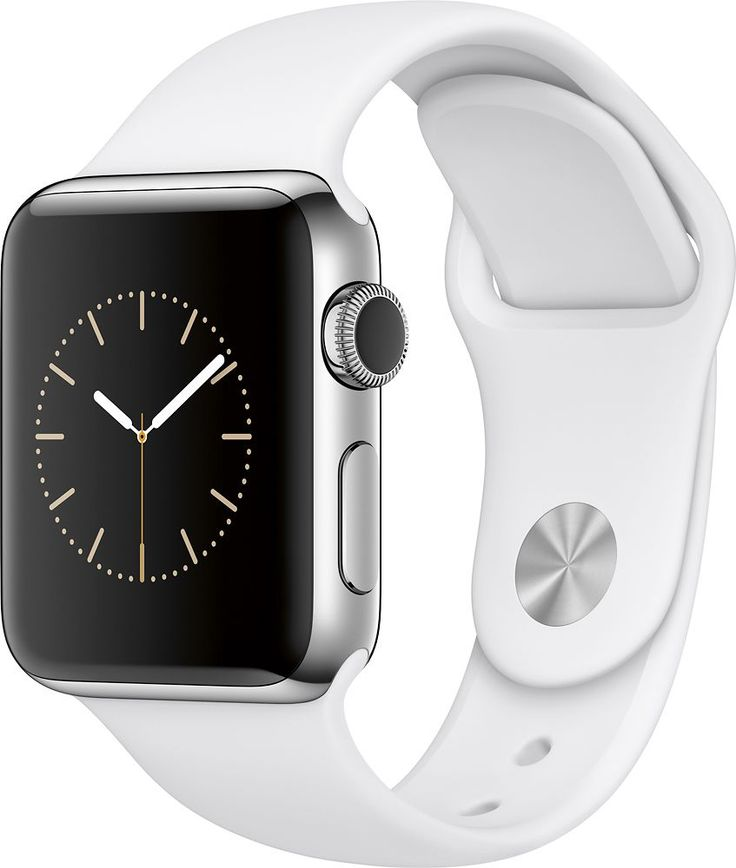 Apple - Apple Watch Series 2 38mm Stainless Steel Case White Sport Band - Stainless Steel