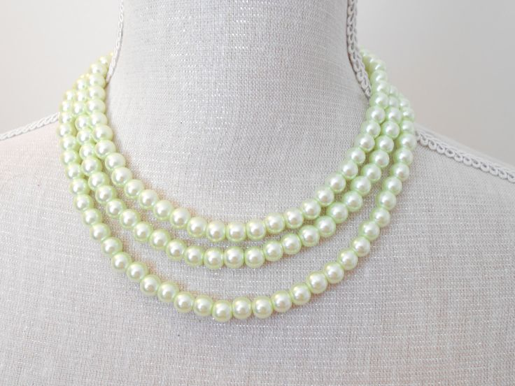 Pearl necklace: Long mint pale green glass beads unique for wedding Bridesmaid Gifts Mother of the Bride Teacher  Birthday Mum jewelry (11.50 GBP) by MisticPearls