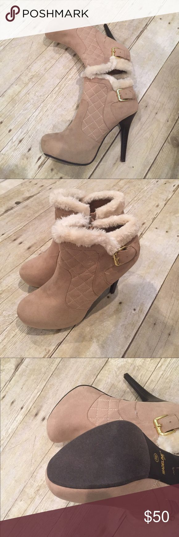 👠BUY ONLY BUTTON👠ankle  boots with heels size 8 Beige fuzzy ankle boots with heels size 8 🎉AMAZING PRICE! 🎉retail 85.00 Shoes Heeled Boots