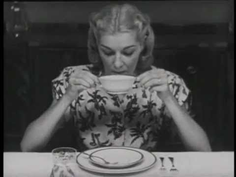 """Emily Post: """"Table Manners"""" (1947) Video - Though the video is quite dated, these rules still apply today and, if implemented appropriately, will hold up as appropriate in any situation. Classic and timeless never serve a person wrong!"""