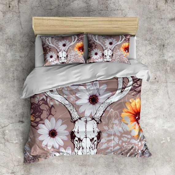 Beautiful Deer Skull Bedding with Daisies and by InkandRags