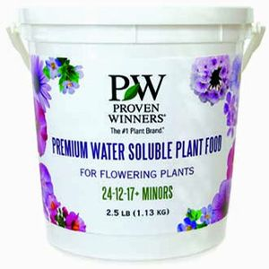 Want great annuals? This is a must have! Proven Winners Water soluble Plant food.   The 2.5 lb. plant food container includes a fast-acting and highly soluble formula that starts feeding immediately in container plantings, hanging baskets, window boxes, landscape beds, and even indoor plants.