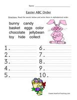 Easter Worksheet – Alphabetical Order: Read the words below and write them in alphabetical order. Easter Worksheet – Click Here Information: Easter Alphabetical Order, Easter ABC Order