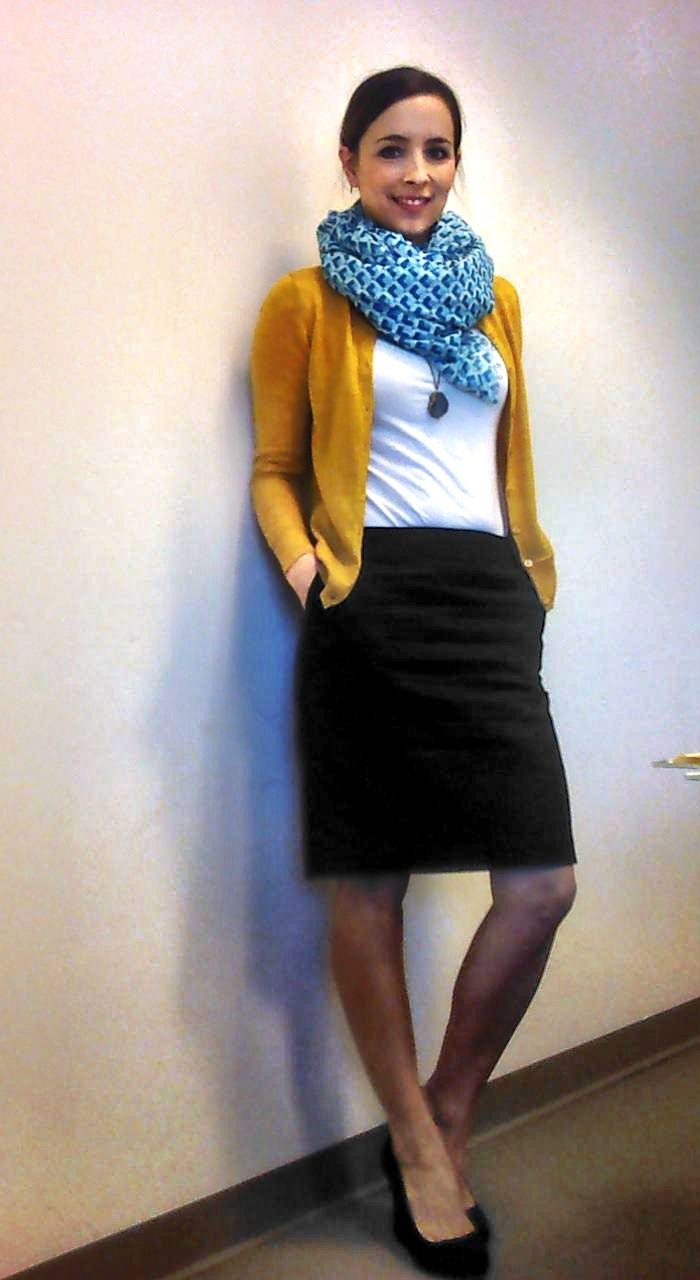 Black Skirt, White Blouse, Mustard Sweater (??) and Big Scarf