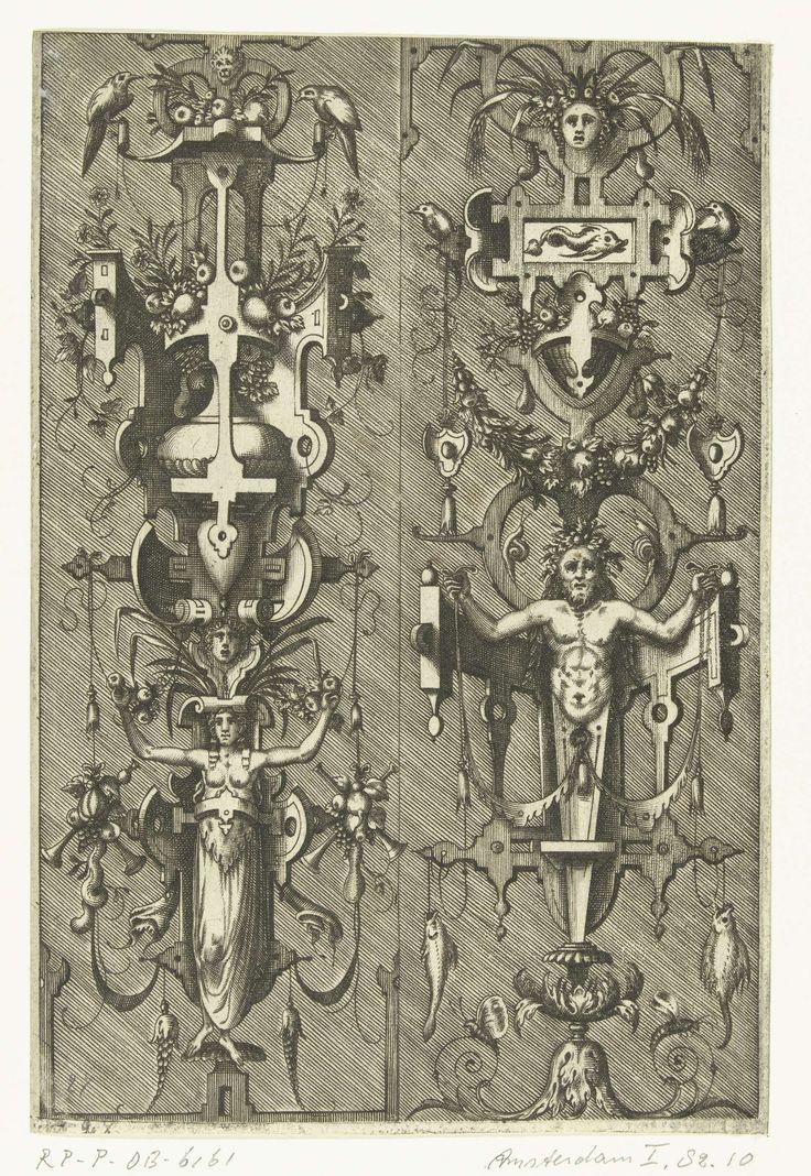 Pieter van der Heyden | Twee kandelabers met rolwerk, Pieter van der Heyden, Jacob Floris, Hieronymus Cock, 1567 | Links een kariatide die op haar hoofd een bouwsel van rolwerk met een vaas vol vruchten en bloemen torst. Rechts een herme en daarboven een cartouche met een vis waaraan een guirlande hangt. Gearceerde achtergrond. Hoort bij serie van 14 bladen cartouches met rolwerk, grotesken, trofeeën en friezen. Het titelblad ontbreekt.