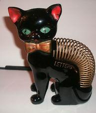 Vintage Mid Century Black Cat Letter Holder ~RETRO~1950's~Japan~  (LQQK)