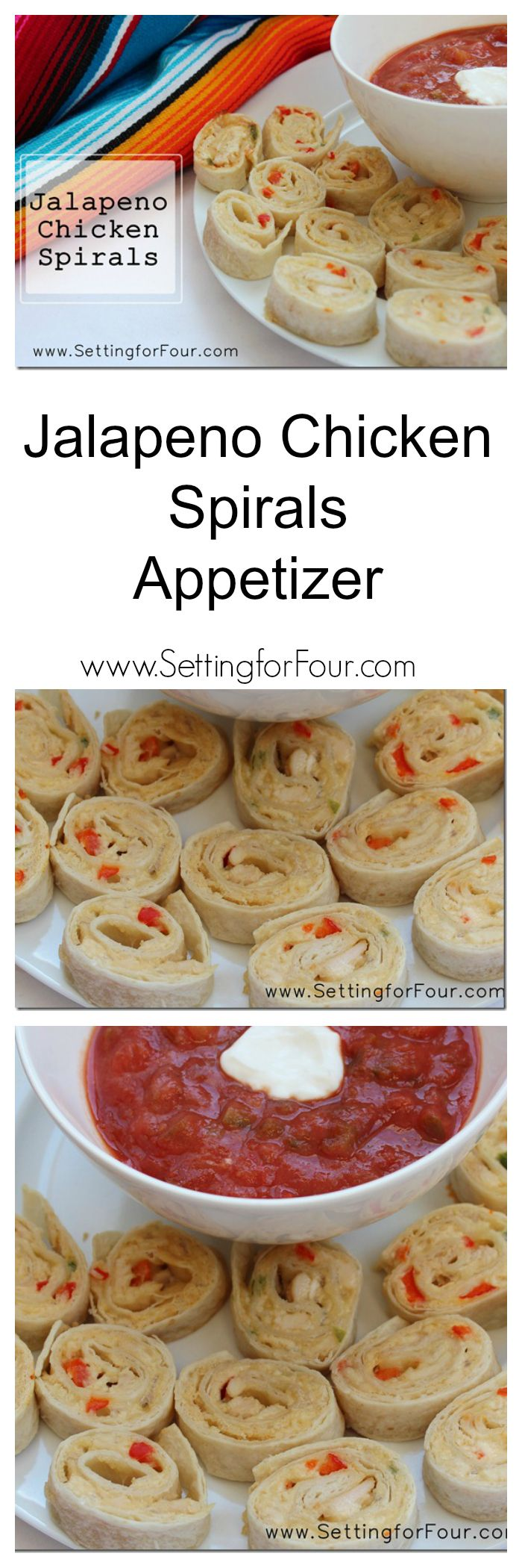 Jalapeno Chicken Spirals – a yummy appetizer recipe perfect for game night, Super Bowl parties, Cinqo de Mayo parties or anytime!