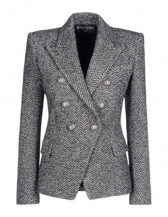 Balmain Herringbone Double-Breasted Blazer - Shop the fifty shades of gray on ShopBAZAAR.com http://shop.harpersbazaar.com/in-the-magazine/gray-matters/