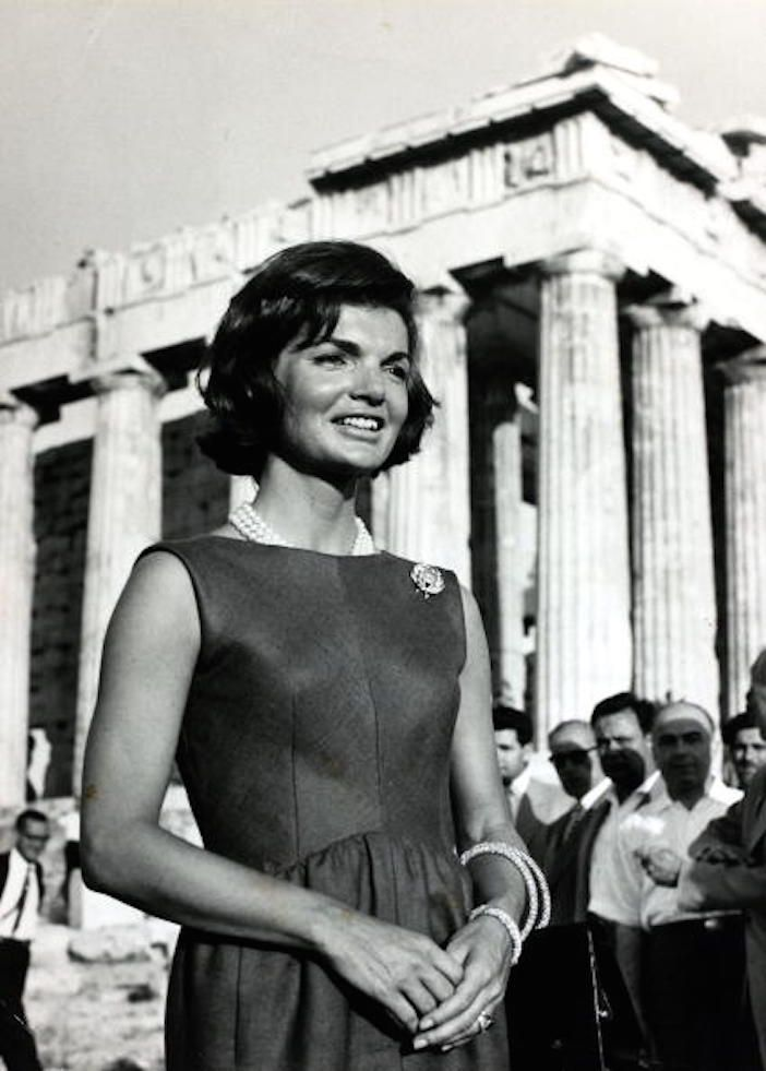 First Lady Jacqueline Kennedy had a love affair with Greece. Here she is visiting the Acropolis in June of 1961