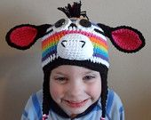 Items similar to Circus Zebra, Madagascar inspired crochet zebra hat on Etsy