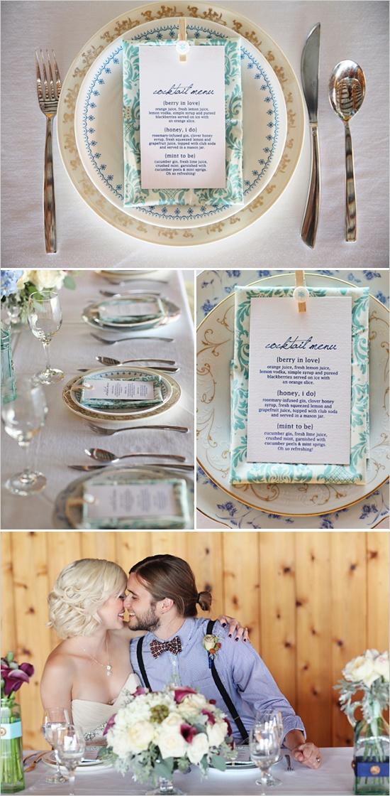 mismatched plates, cute cocktail menu... love it!