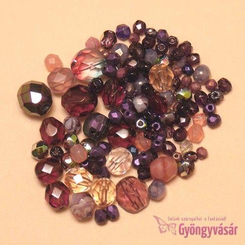 Lila vegyes cseh csiszolt gyöngy (10 g) • Gyöngyvásár.hu