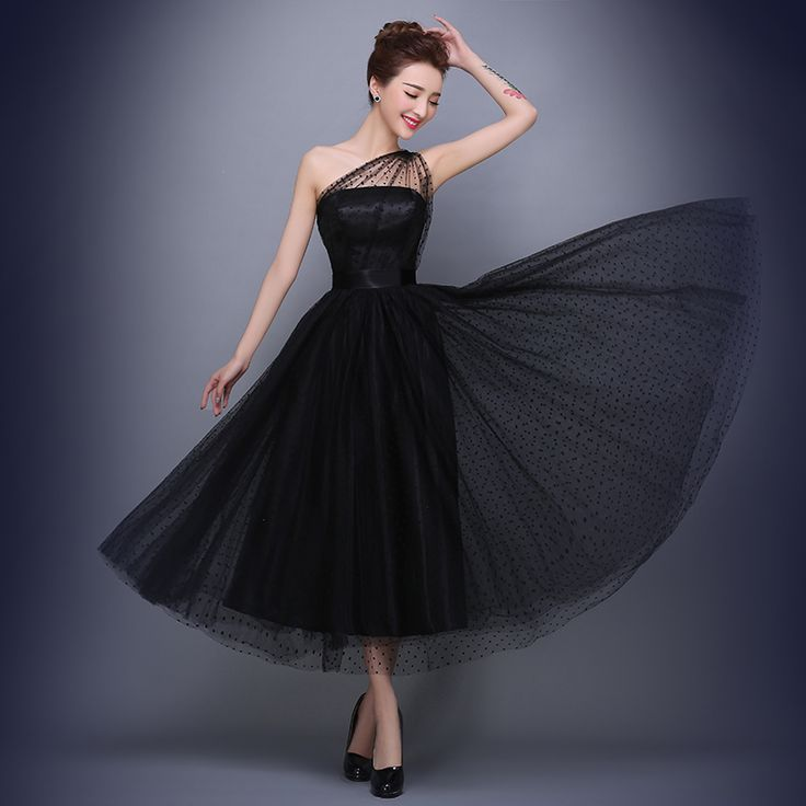 Real Photo One Shoulder Black Evening Dresses Formal Evening Gowns Dresses China robe de soiree vestido de festa longo