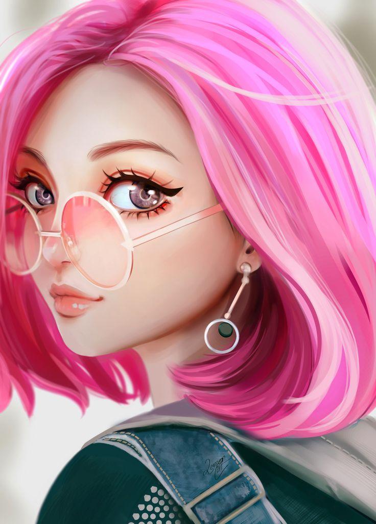 Dessin numérique visage fille manga aux cheveux roses avec des lunettes et des boucles d'oreilles