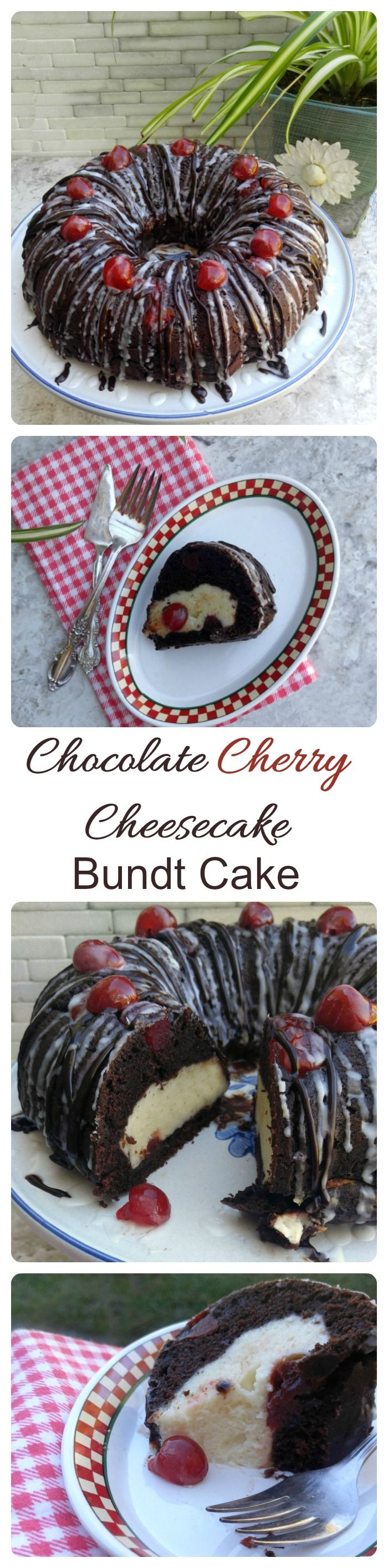 This Chocolate Cherry Cheesecake Bundt Cake is layer upon layer of delicious tastes.  It has a creamy center and rich, dark chocolate layers with both a white and dark chocolate glaze.