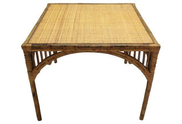 Tortoiseshell Bamboo Table & Chairs, S/5
