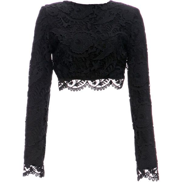 Stone Cold Fox Punk Lace Crop ($221) ❤ liked on Polyvore featuring tops, crop top, shirts, black, long sleeved, punk rock shirts, cropped long sleeve shirt, lace crop top, crop shirts and lacy shirts
