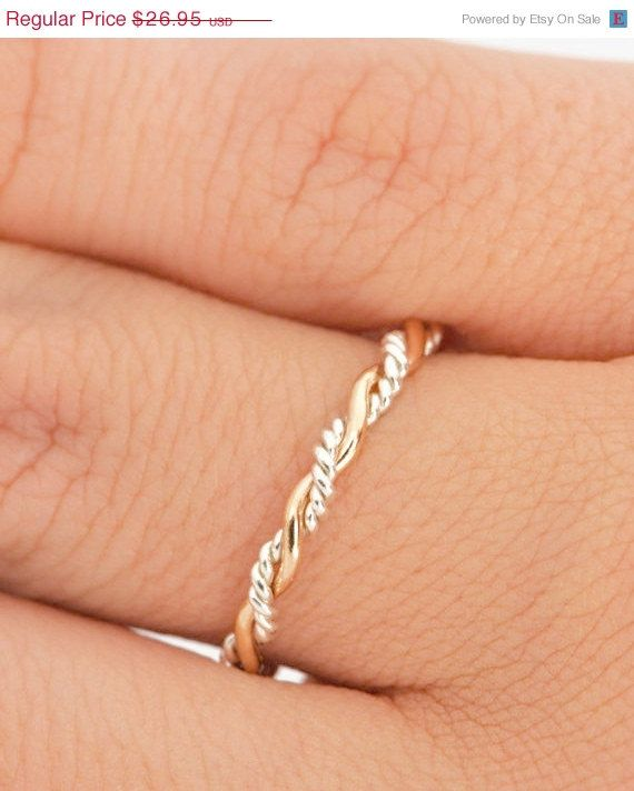 Valentines Day Sale Twist Ring - Stacker Ring - Thumb Ring - Gold Filled - Argentium Sterling Silver - Handmade