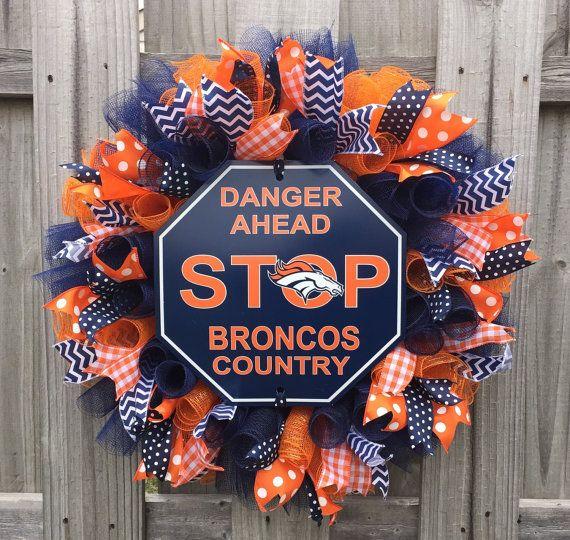 Denver Broncos Deco Mesh Wreath by WelcomingWreathsMore