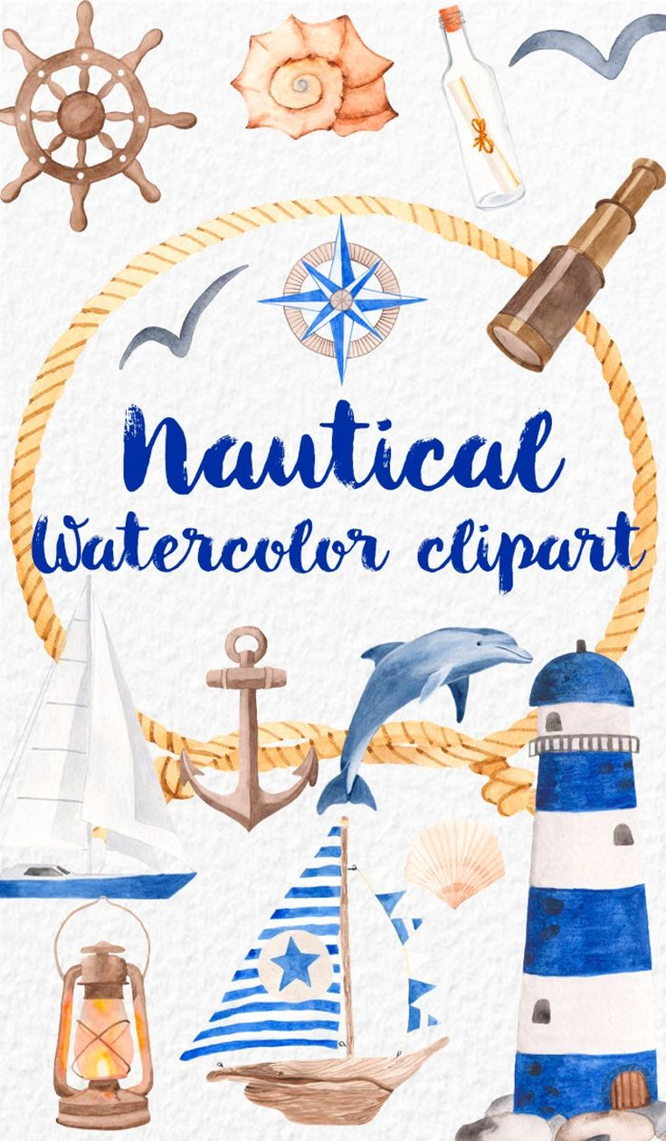 Download Acuarela náutica set cliparts. Ilustraciones faro barco ...