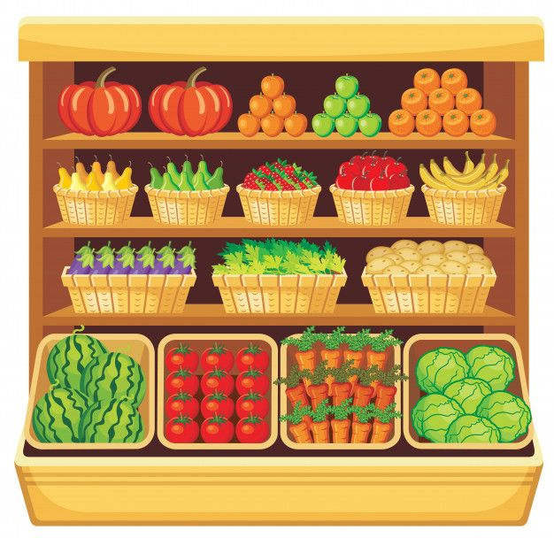 Imagem De Prateleiras Em Um Supermercado Com Frutas E Legumes Clip Art álbum De Fotos Faça Você Mesmo Dia Da Alimentação