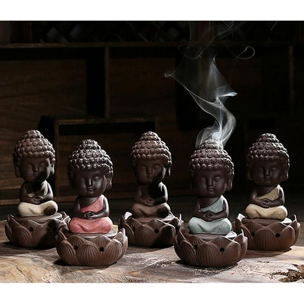 FREE SHIPPING, 1 PC Buddha statue incense cones ceramic incense burner Buddha ornaments