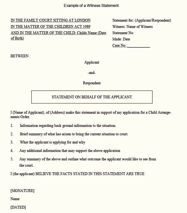 Witness Statement Form Template Beautiful A Sample Position