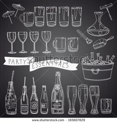 Vector collection of vintage party essentials icons. Hand drawn Illustration with cocktails, wine glasses, beer bottles, tubule for a cockta...