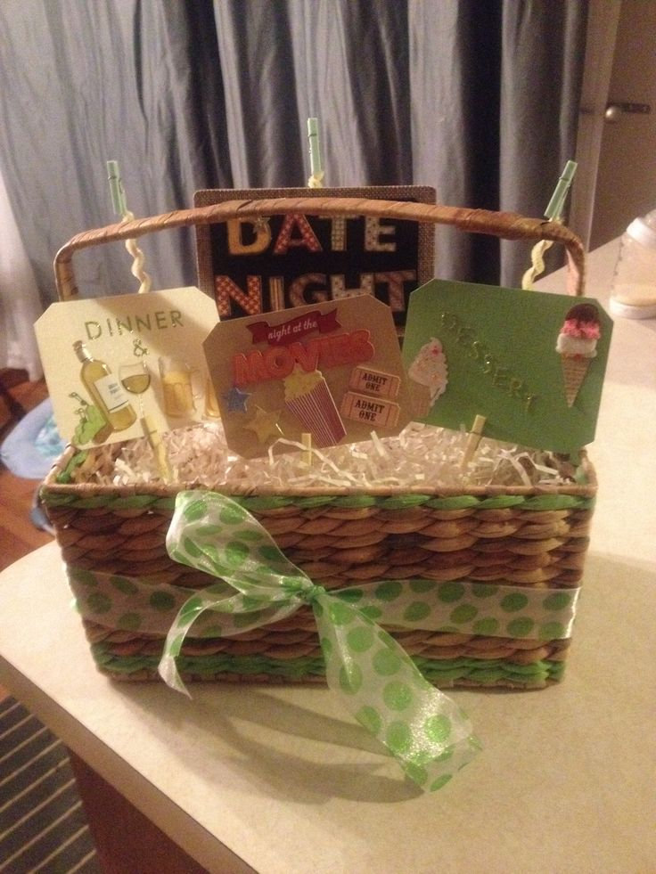Date Night Basket Clip a gift card in the clothes pins behind each corresponding sign. Perfect for any occasion, going to make on your a jack and Jill raffle prize! :)