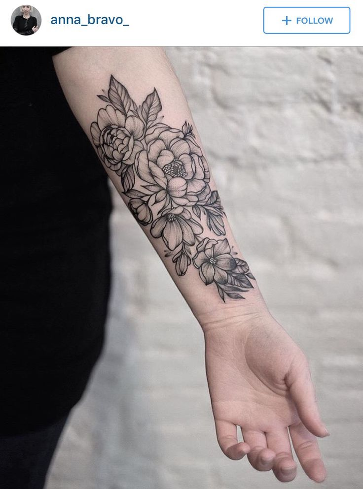 Floral black and grey nature tattoo