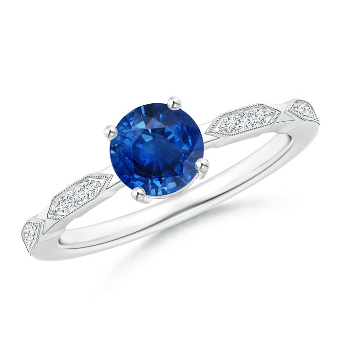 Angara Yellow Gold Trio Diamond and Pear Shaped Sapphire Solitaire Ring 9nXwa