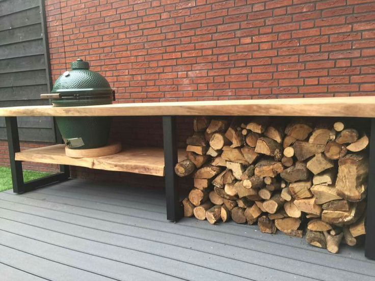 Tuin bbq hout opslag tafel