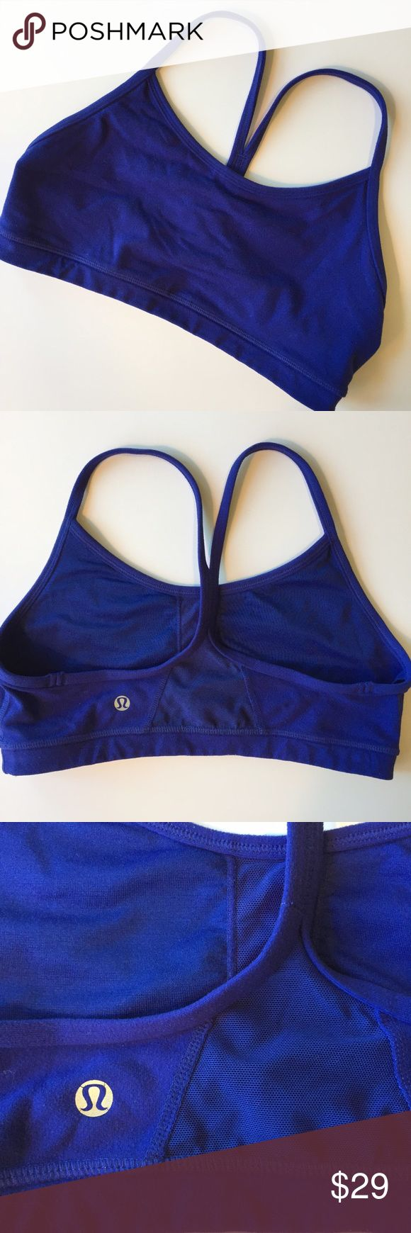 Lululemon Flow Y Sports Bra Royal Blue Size 6 Lululemon Flow Y Sports Bra. Size 6. Retail: $48. Royal blue color. Sweat-wicking. Racerback style. 4-ways stretch. Cottony soft handfeel! Quick recovery. Naturally breathable. Luon fabric. Mesh fabric venting in high-sweat areas to keep you cool. Size dot verified. Excellent pre-loved condition!  🛍20% Off Bundles of 2+ Items! lululemon athletica Intimates & Sleepwear Bras