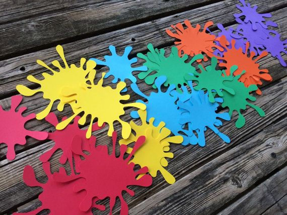 Deck out your table with these large paint splatters! Great finishing touch to any Art or Paint party!   QUANTITY: ● 24 - Paint Splatter Confetti  COLORS: ● Red, Yellow, Blue, Green, Orange, Purple Want different colors? Message me.  SIZE: ● Paint Splats measures approximately 5.3 and 4 wide.  RELATED: ● For more Art Party Themed Shop items visit: http://etsy.me/1RZPocN  Thank you for looking