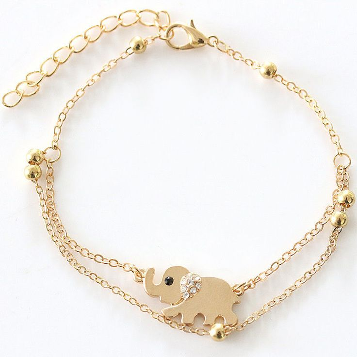 Edelstahl Armband ELEFANT Armkettchen Damen Schmuck gold Strass Geschenkidee