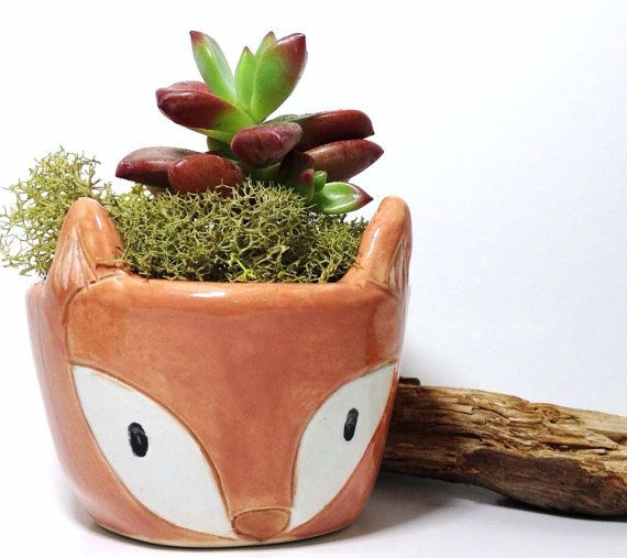 Fox Planter Ceramic Cutest Plant Container Perfect Gift MADE TO ORDER