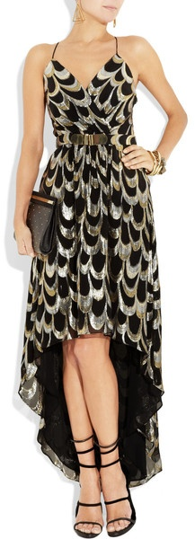 Milly | Anais Silkblend Jacquard Dress in silver & gold♥✤