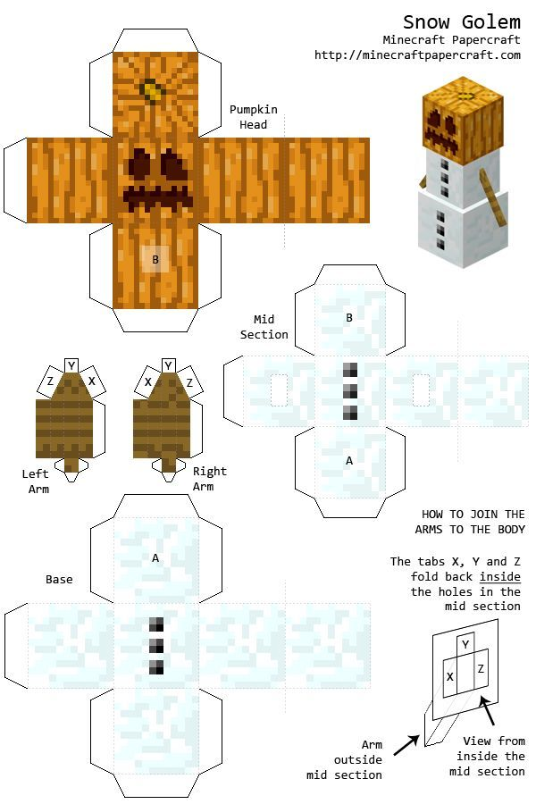 minecraft paper cutouts | Image - Snowgolem.png - Minecraft Papercraft Wiki | Minecraft-Andy | Pinterest | Papercraft, Craft and Birthdays