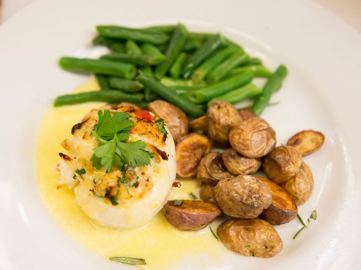 Halibut Crab Cake Roulade with a Lemon Cream Sauce, Green Beans and Truffle Roasted Potatoes recipe from Stacey Poon-Kinney via Food Network