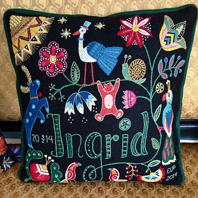 Pillow for a baby named Ingrid. Made by Elna Carr. Wool embroidery, crewelwork…