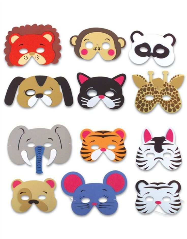 12 Assorted Foam Animal Masks for Birthday Party Favors Dress-Up Costu – Alice's Supplies