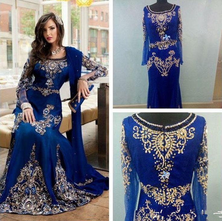 2017 Arabic Dubai Moroccan Kaftan Dresses Luxury Long Sleeve Muslim Evening Gown #Handmade #Formal