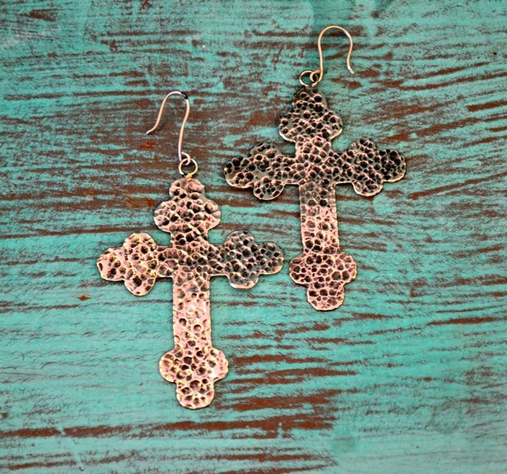 Southern Jewlz Online Store - Gypsy Soule Distressed Cross Earrings , $44.95 (http://www.southernjewlz.com/gypsy-soule-distressed-cross-earrings/)
