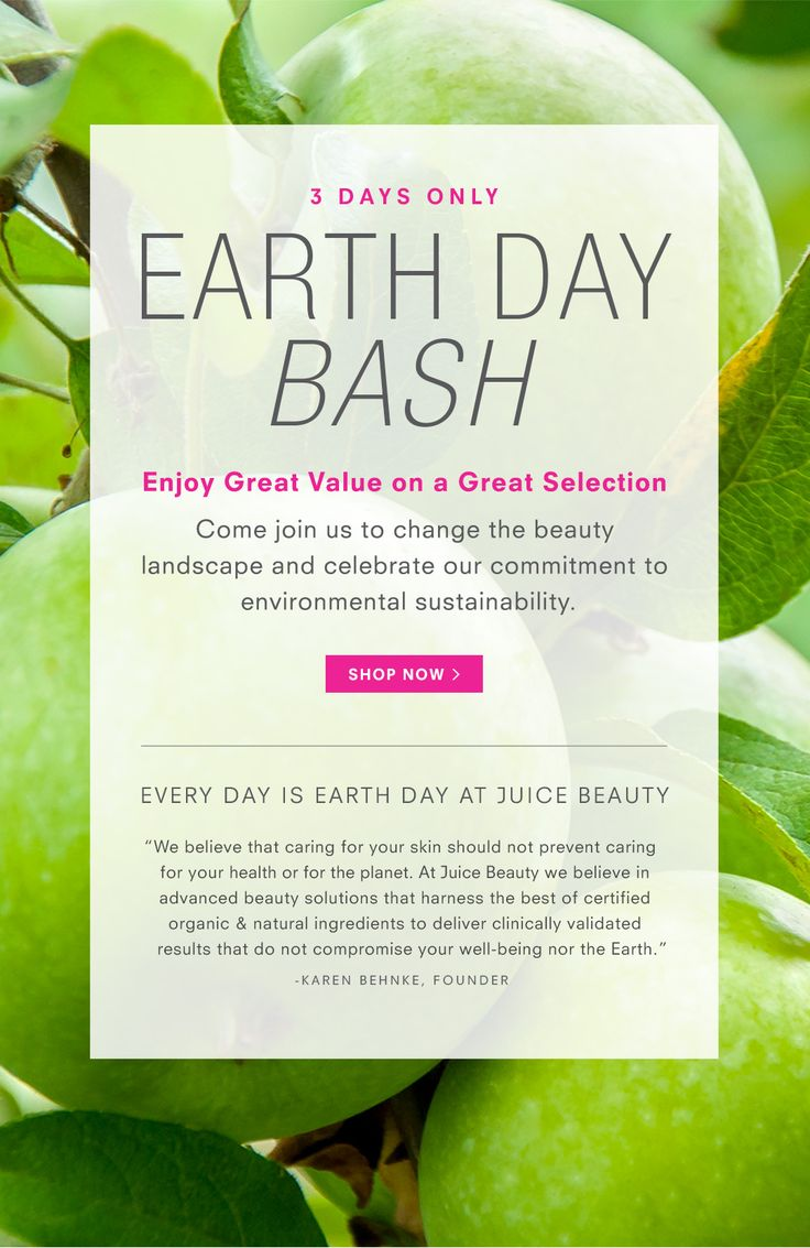 Earth Day Bash http://www.planetgoldilocks.com/ 3EARTHDAY #SKINCARE  -Feed Your Skin on Earth Day. Up to 50% off Skincare and Makeup Best Sellers. All sales final. No promo code needed. -