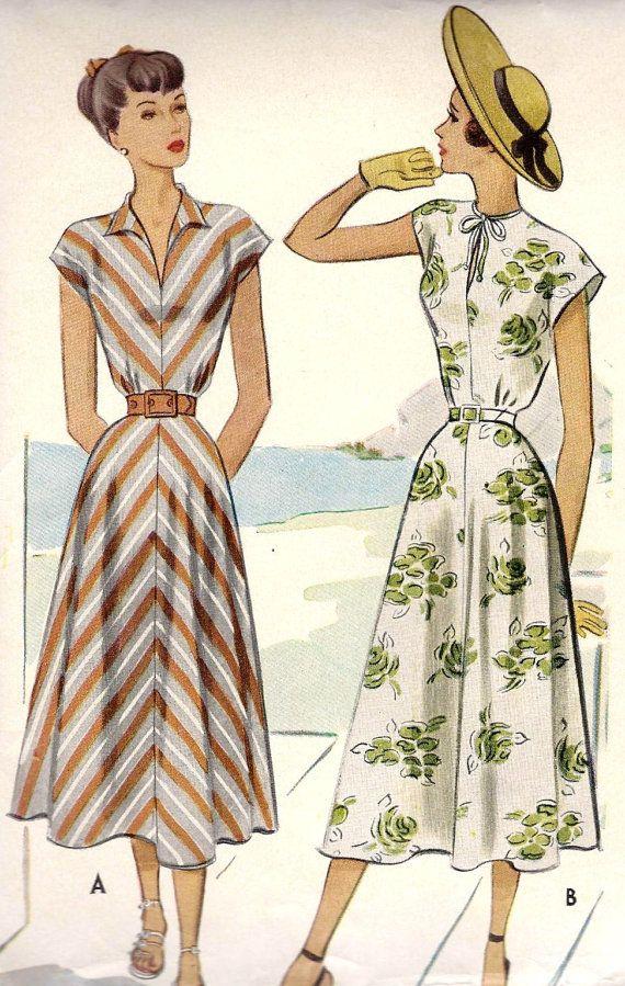 1940s Misses Summer Dress Vintage Sewing Pattern, McCall 7286 bust 30″ uncut