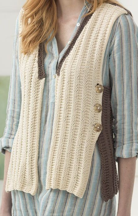 Free Knitting Pattern for Easy 2-Row Repeat Vest - The Milford open front vest is knit in a two row repeat garter rib stitch and is buttoned the on sides. Designed by by Irina Poludnenko for Lion Brand Yarn. XS/S (M/L, 1X/2X)