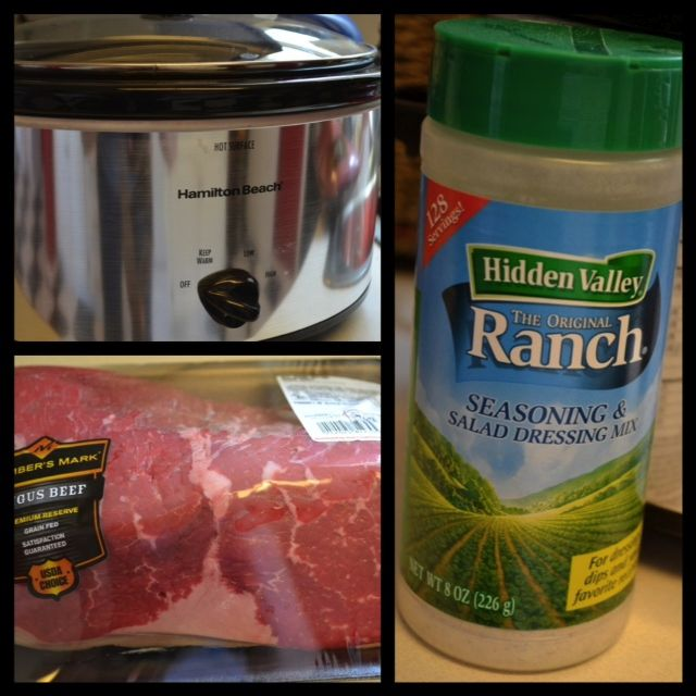 Easy Crock-Pot Ranch Roast Sandwiches...I used 1 pork tenderloin, 1 1/2 packets ranch, salt, pepper, paprika (generously sprinkled on top after broth and ranch is poured) and 1 can chicken broth....cooked it on low for 7-8 hours. It was great!!!