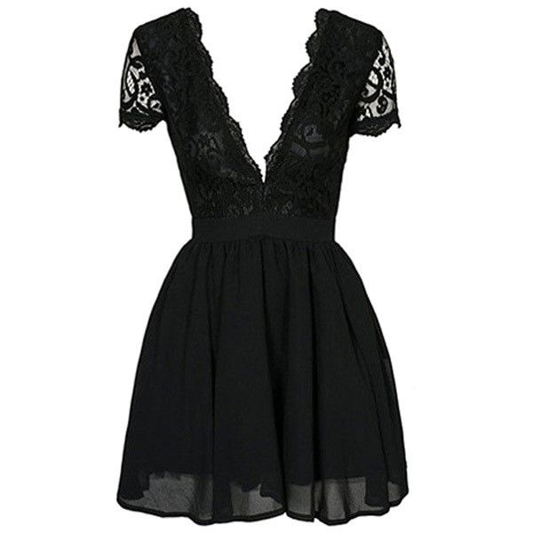 Black Lace Spliced Plunging Neck Skort Sleeve Dress ($99) ❤ liked on Polyvore featuring dresses, vestidos, golf skirts, plunging neckline dress, lacy dress, skort dress and lace skort