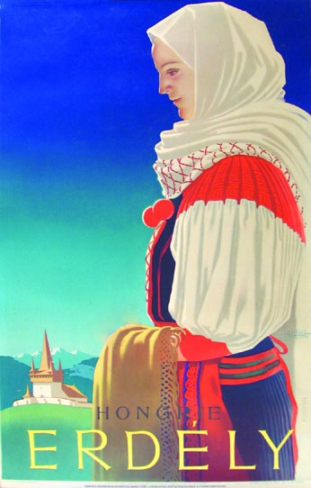 György Konecsni's travel poster 1930-something, Transylvania, Hungary
